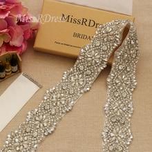 MissRDress Big Size Trouwjurk Sjerp Riem Met Parels Zilveren Kristal Kralen Strass Bruids Riem Voor Wedding Prom Gown JK811