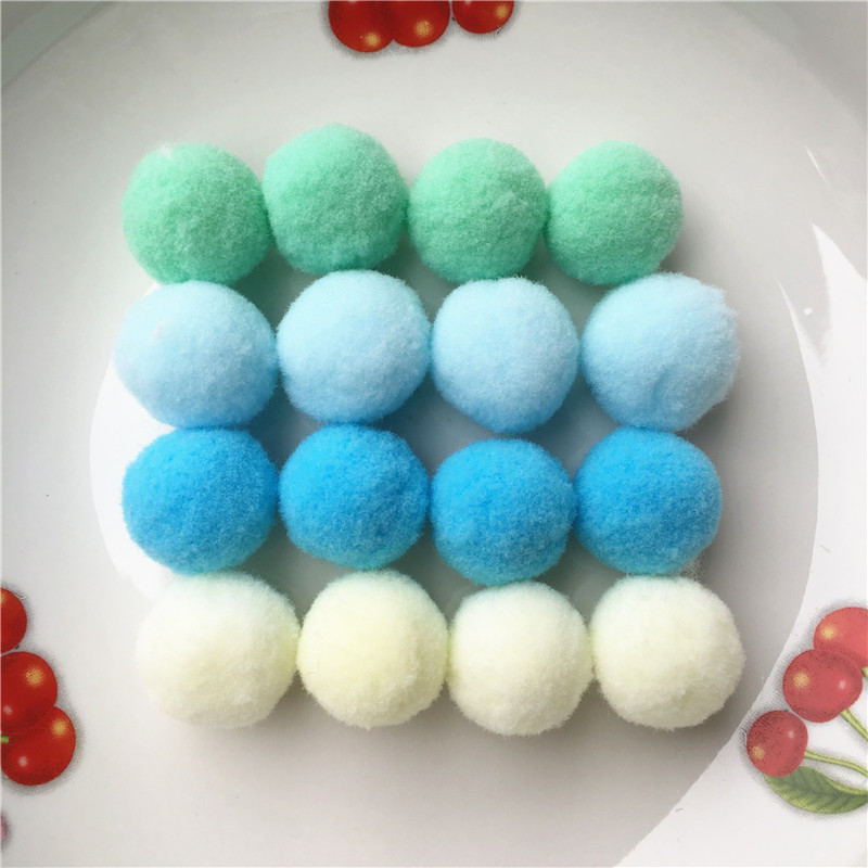 100pcs Approx 25mm Mix Blue Mint Pompom Fur Craft DIY Soft Pom Poms Balls Wedding/Home Decoration Sewing On Cloth Accessories