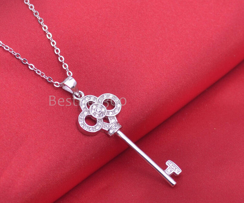 Brand new 925 sterling silver key necklace containing chain 45 cm jewelry for women cubic zirconia necklace (NM)