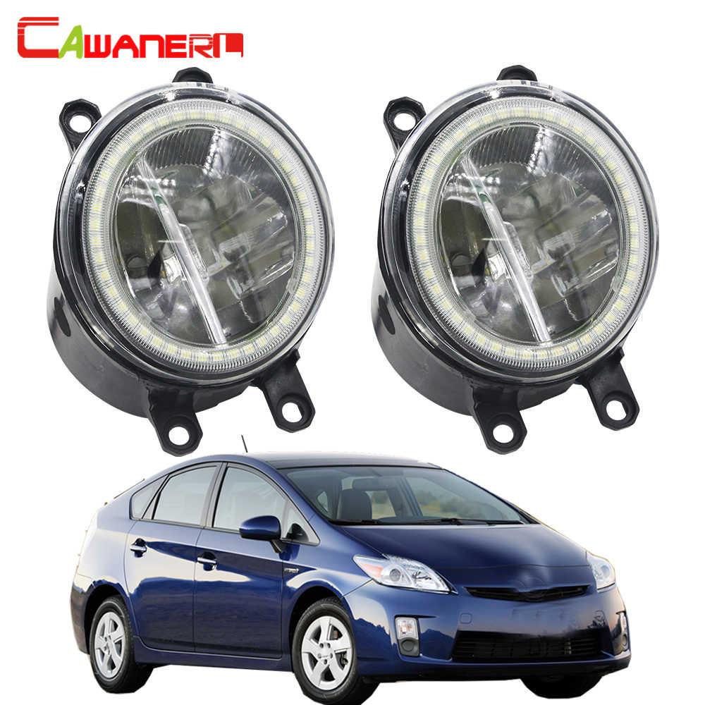 Cawanerl For Toyota Prius 2009 2010 2011 2012 Car H11 LED Bulb Fog Lamp + Angel Eye Daytime Running Light DRL 4000LM 12V