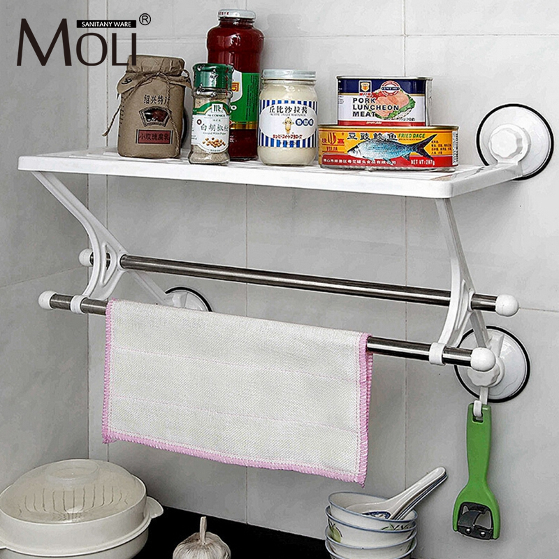 Kitchen Bathroom shelf wall mounted suction cup single layer plaste rack with bar and hook hanging wall storage holder