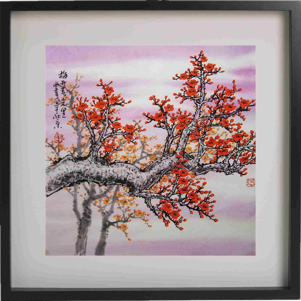 Traditional Purple Chinese Blossom Canvas Wall Art Picture Print