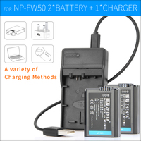 2PCS NP FW50 Camera Battery Digital Batteries NP FW50 Charger For Sony ILCE A7M2 ILCE 7