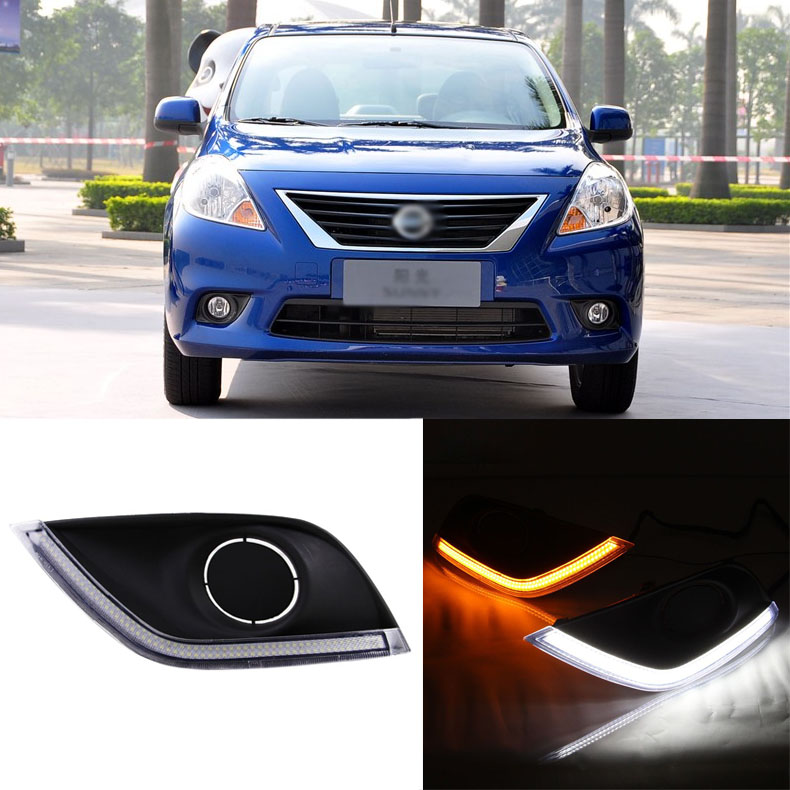 Ownsun Brand New Updated LED Daytime Running Lights DRL With Black Fog Light Cover For Nissan Sunny 2014 цена и фото