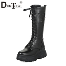 DoraTasia Fashion Large Size 33-43 mid-calf Platform Motorcycle Boots Women Winter 2019 Fur lace-up Punk High Heels Shoes Woman