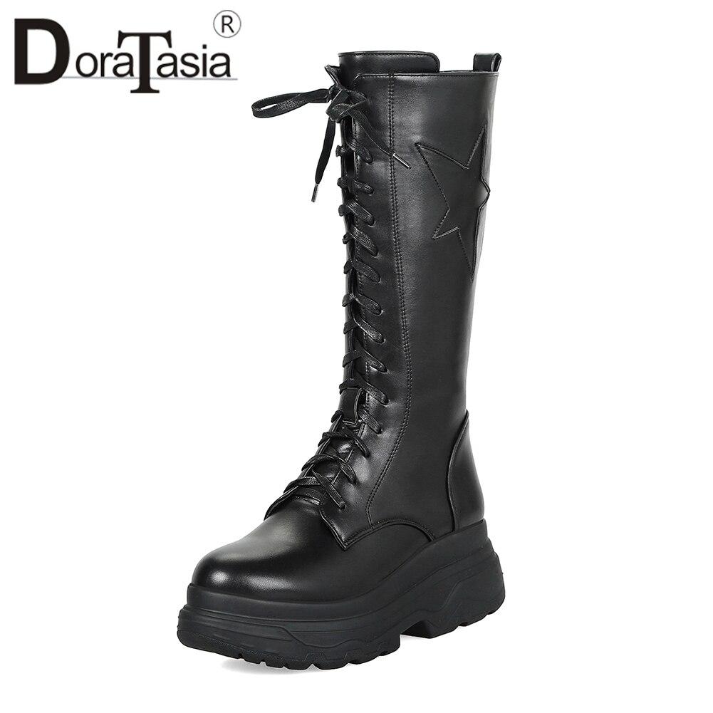 92e5760925ab D hiver Fourrure Hauts Femmes Femme Talons Moto Mode De 33 Taille 2019 Mi À  Punk Pour Lacets Bottes 43 Chaussures Noir Plate forme ...