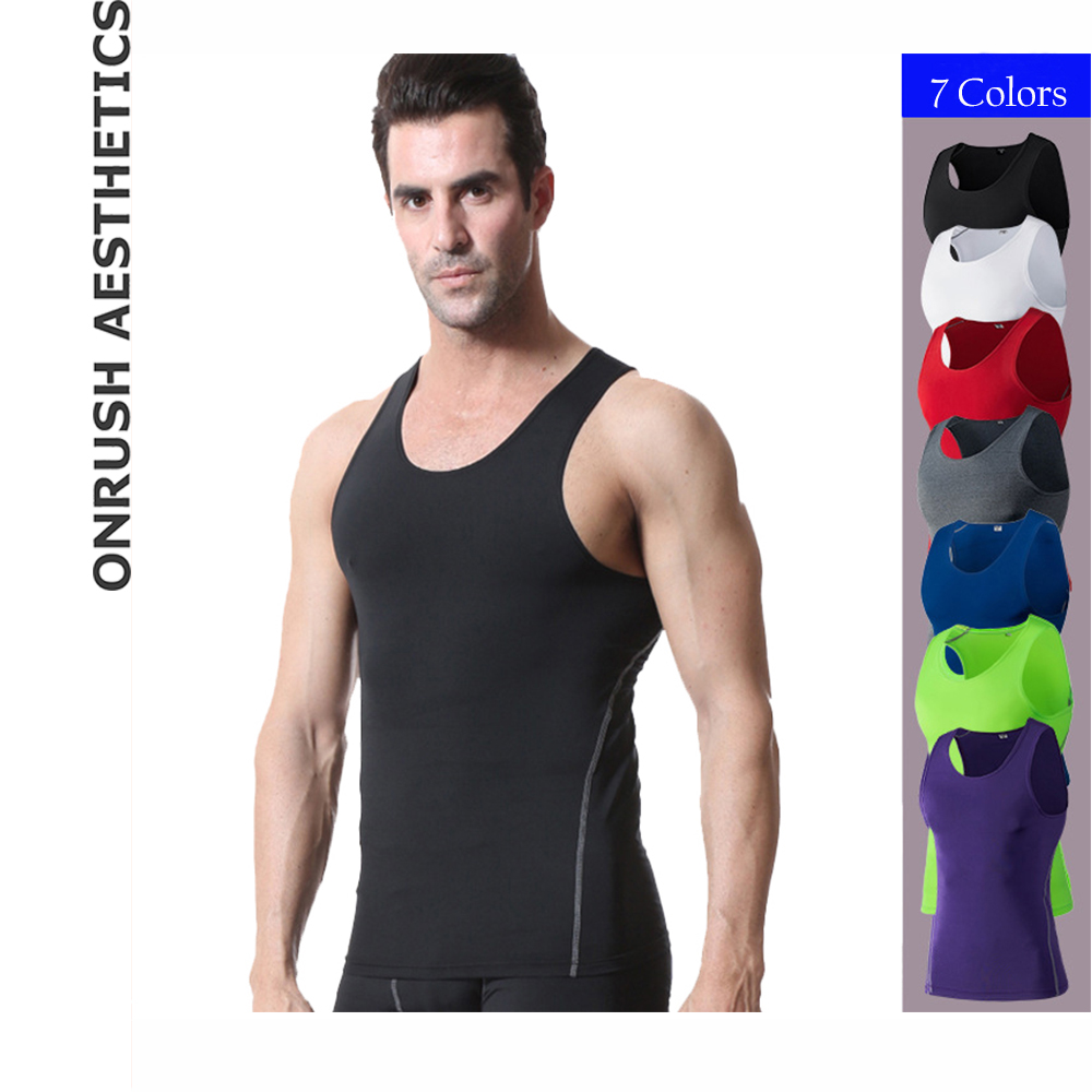 OA Fitness Pro Mens Tight   Tank     Tops   Elastic Slim Fit Solid Color Breathable Vests Bodybuilding Casual Quick Dry Singlets   Tops