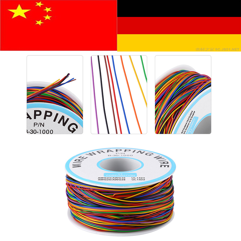 P//N B-30-1000 30AWG Tin Plated Copper Wire Wrepping Cable Reel Black 300M