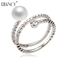Real natural pearl ring for women,freshwater pearl ring, 925 sterling silver adjustable pearl jewelry ring, fine wedding gift nymph seawater pearl bracelets fine jewelry near round natural pearl bangles for women gold trendy anniversary gift [s308]