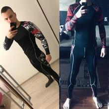 Мужской костюм флисовые кальсоны зимнее термобелье Компрессионные Леггинсы спортивные фитнес мужские быстросохнущие беговые футболки для бега