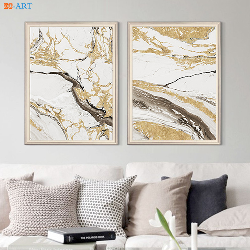 Gold Foil Prints Abstract Painting Brown Poster Wall Art