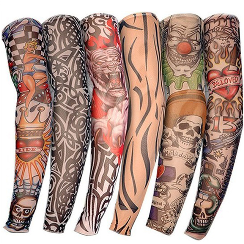 Summer Cycling Sports Tattoo Sleeves UV Cool Arm Sleeves Cycling Running Unisex Arm Warmer Sport Elastic Oversleeve Arm Warmers
