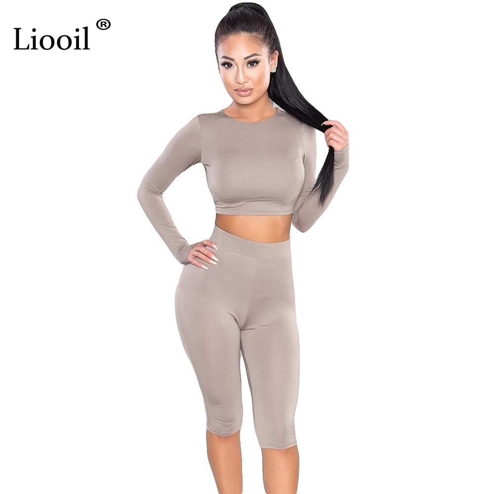 Liooil női két darab Bodycon Jumpsuit új 2019 nyári térd hosszú hosszú ujjú fekete szexi klub elegáns rompers és jumpsuits