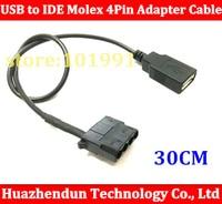 50 шт. USB Женский в IDE Molex 4PIN Кабель адаптер для шасси вентилятор охлаждения, изменение 12 В до 5 В 30 см Бесплатная доставка