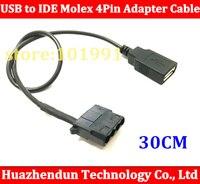 50 шт. USB Женский к IDE Molex 4Pin адаптер кабель для шасси охлаждающий вентилятор, изменить 12 В до 5 В 30 см Бесплатная доставка