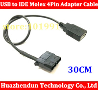 50pcs USB female to IDE Molex 4Pin Adapter Cable for Chassis Cooling Fan, Change 12V to 5V 30CM Free shipping