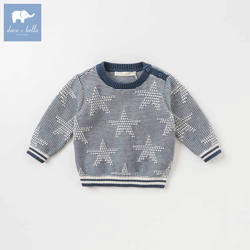 все цены на DBA7814 dave bella autumn infant baby boys fashion long sleeve pullover kids toddler tops children knitted sweater