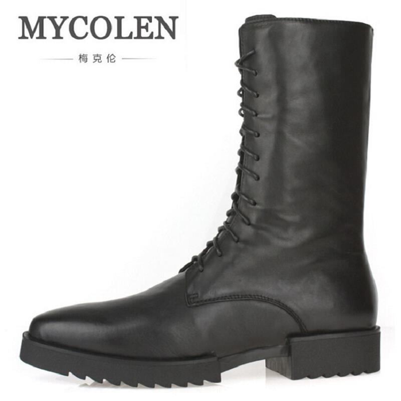 MYCOLEN Autumn Winter Men Punk Motorcycle Boots Lace-Up High Top Man Boots Black Cow Leather Military Shoes Bota Masculina black sequins embellished open back lace up top