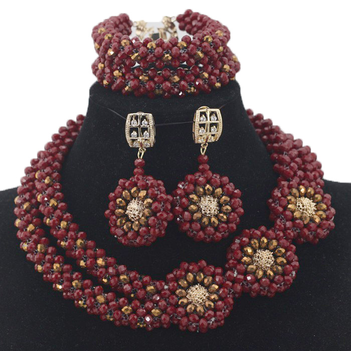 Splendid Wine Red African Beads Jewelry Set Nigerian Wedding Statement Necklace Beads Pendant Necklace Beads Jewelry