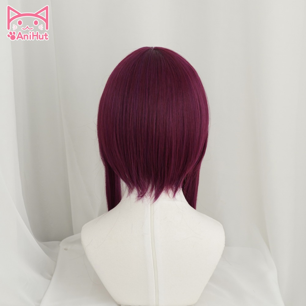 Anihut LOL Game Cosplay Wig KDA POP/STAR  Akali Cosplay Wigs Women Long Straight Purple Red Wig LOL KDA Akali KPOP SKIN Hair