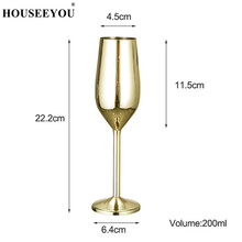 HOUSEEYOU Copper/Silver/Rose Gold Wine Glasses Stainless Steel Goblet Juice Drink Champagne Flutes Party Barware Kitchen Tools
