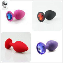 BED KUNGFU Silicone Anal Plug Red Pink Purple Black Anus Toys S M L Anal Bead
