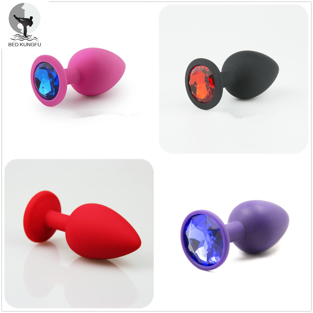 BED KUNGFU Silicone Anal Plug Red Pink Purple Black Anus font b Toys b font S