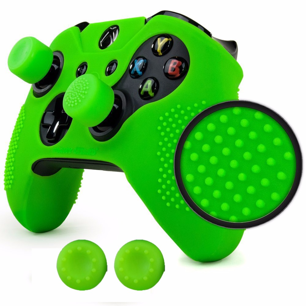 Non-slip STUDDED Thicker Ultra Sort Protective Silicone Case Skin Cover +2pcs Rocker Caps for Xbox One Elite Controller ...