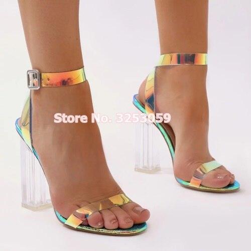 ALMUDENA Perspex Transparent talons Chunky sandales colorées PVC à bretelles sandales doux Patchwork chaussures de mariage pompes de Banquet