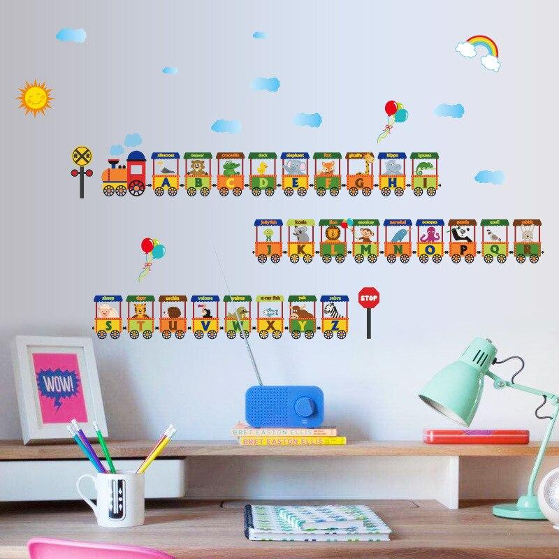 Мультфильм английском письмо поезд стены Стикеры A-Z животного английских слов обучения стены Стикеры s для детей номеров шар Декор