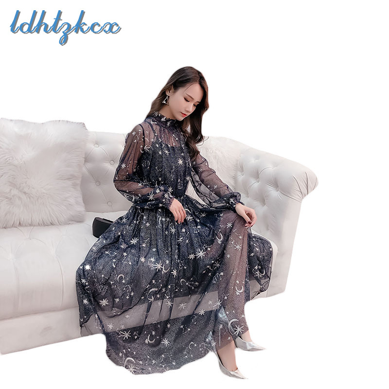 Mesh Dress and Women's Sling Dresses Two Piece 2019 Autumn New Star Moon Embroidery Long Sleeve Mid calf Vestidos Feminina LD07