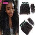 7A Grade Peruvian Kinky Curly Virgin Hair With Closure 4pcs/Lot Peruvian Hair Weave Bundles Peruvian Human Hair With Closure