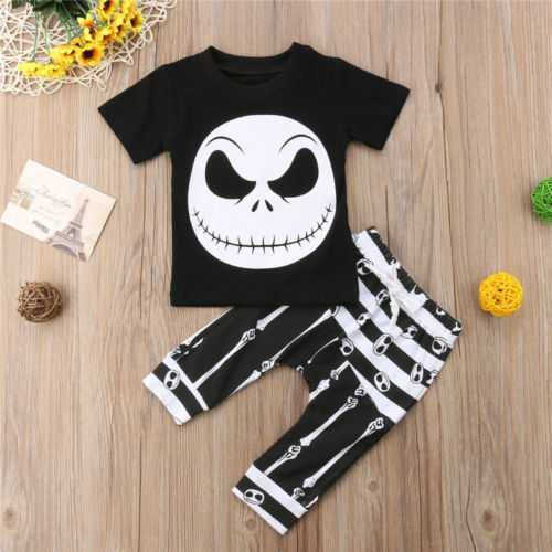 2018 Toddler Kids Baby Boys Halloween T-shirt Black Tops+Long Pants Outfits Set Skull Summer Holiday Set Clothes