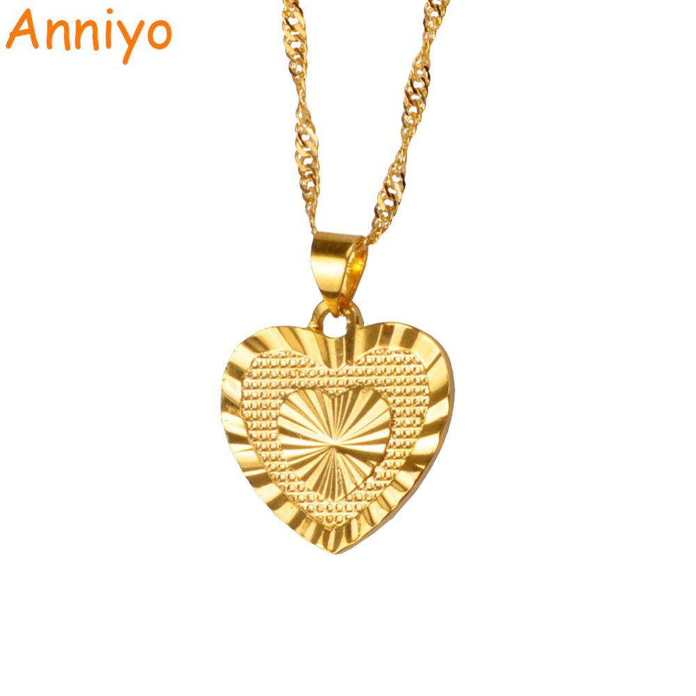 Anniyo 18cm Heart Pendant And Necklaces Romantic Jewelry Gold Color