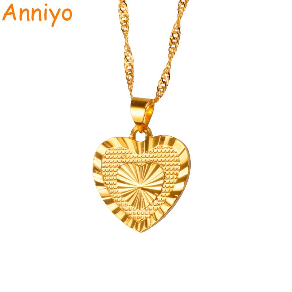 Anniyo 1.8cm Heart Pendant and Necklacess