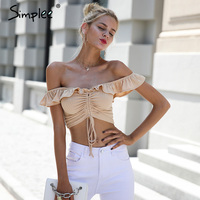 Simplee Sexy ruffle knitting off shoulder top tees Fashion lace up crop top female Streetwear slim elastic cropped top women