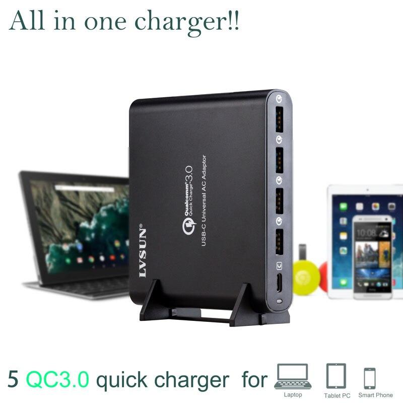 LVSUN QC 3.0 Tudo em 1 telefone tablet adaptador de carregador de laptop com o tipo-tipo c c USB-C USB C carregador para Macbook Spectre 13 Yoga 5