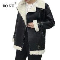 BONU Europen Plus Size Winter Thick Lamb Fur Jacket Women PU Bomber Jacket Harajuku Loose Black