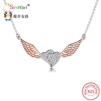 Angel Pendant Necklace Heart Love 925 Sterling Silver Jewelry Accessories For Women Chain Necklaces Pendants Jewelry