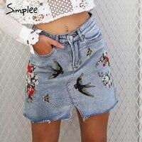 Simplee Embroidery Split Denim Skirt Women Jeans Skirt High Waist Pocket Mini Skirt Female Chic Streetwear
