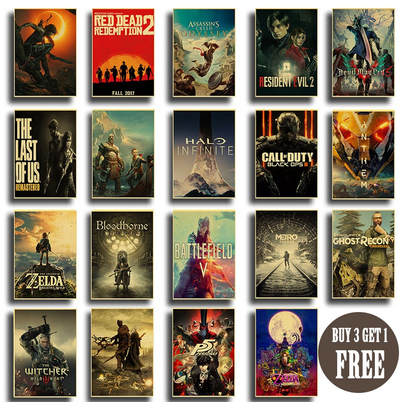Classic Popular Game Collection Many Kinds Of Game Poster Game Lovers Room Decora Art Painting Wall Stickers