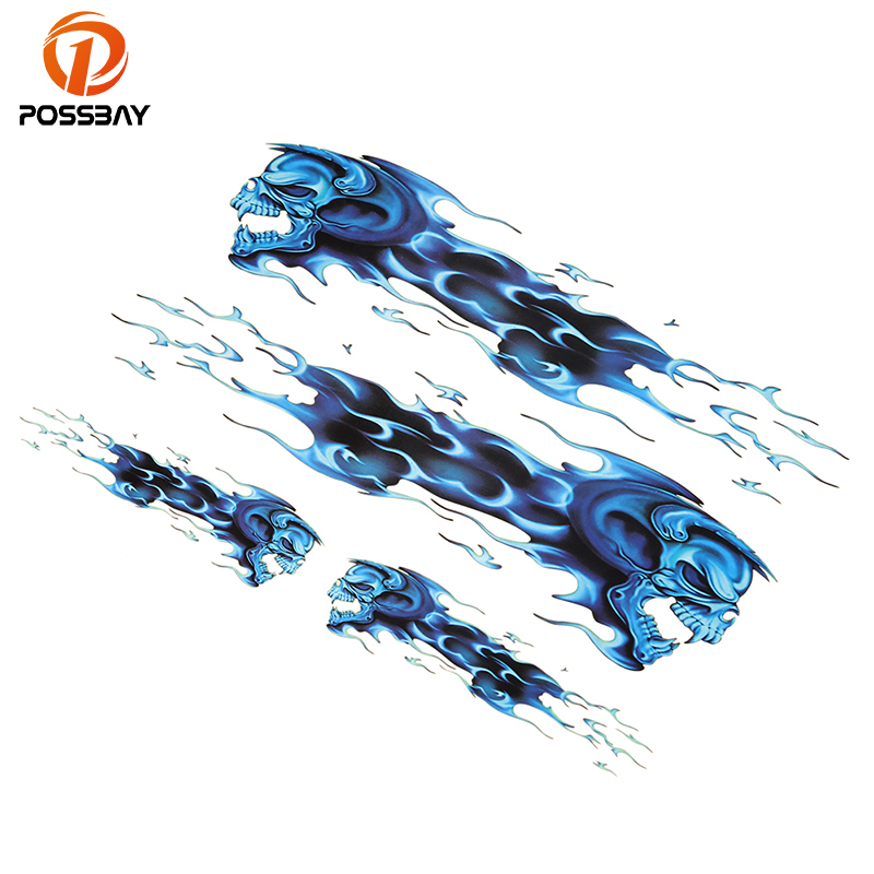 Motorbike Accessories Amicable Possbay Wolf Head Decals Skull Head Fire Flame Funny Self-adhesive Sticker For Motorcycle Car Door Stickers Truck Helmet Decor Decals & Stickers