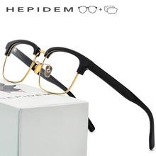 Acetate Prescription Glasses Frame Men Metal Square 2018 Women Semi Rimless Eyeglasses Half Optical Frame Nerd