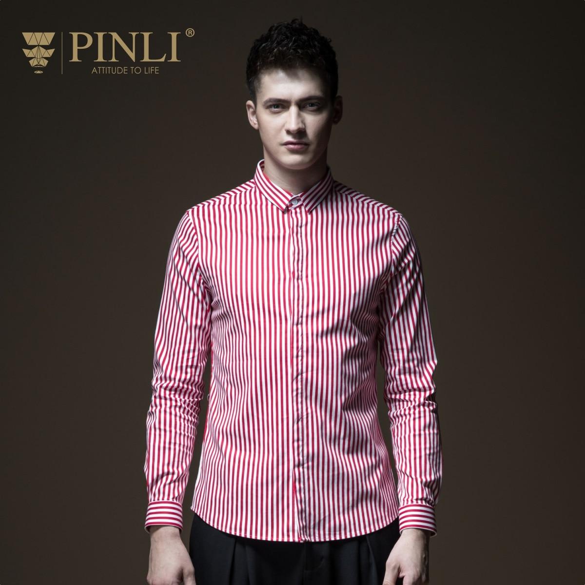 PINLI pin Li 2018 autumn striped shirt men's collar slim leisure long sleeved jacket B183213189