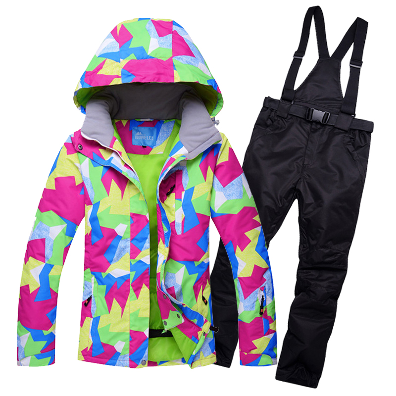 Brand winter ski suit for women thermal windproof breathable snowboard coats and pants set female thicken cotton skiing clothes brand winter ski suit for women thermal