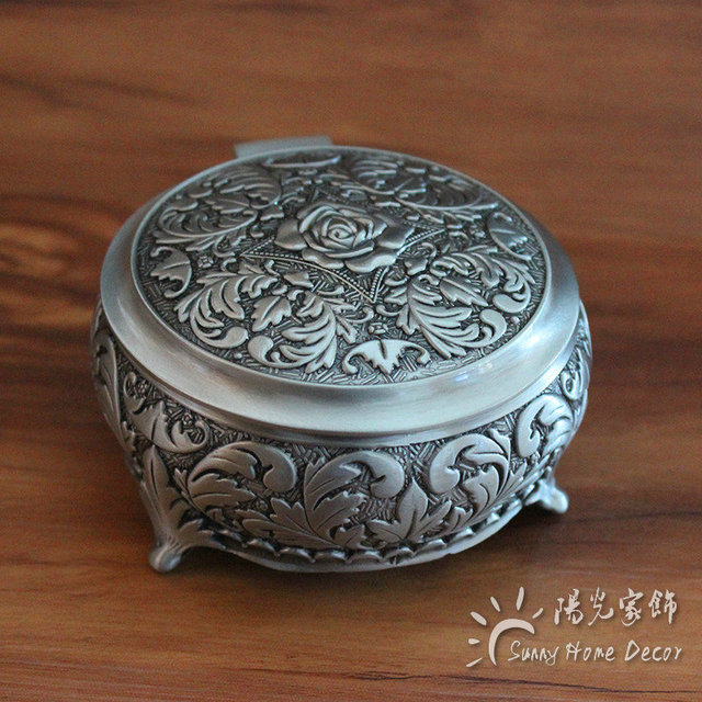 2 Sizes Vintage Jewelry Box Round Shaped with Antique Flower