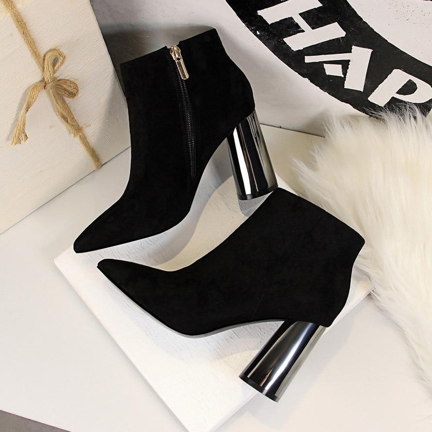 Mode Hiver Cheville Talons Haute Automne Daim Noir khaki G17221 Épais À En Hauts Nouveau Chaussures Métal Pointu 1 Court Européenne Sexy Bottes De TY5wxqA