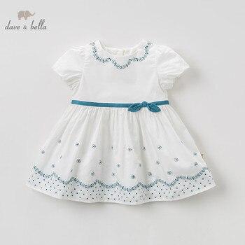Dave bella/DBJ10542 милое летнее платье с бантом для маленьких девочек, платье на свадьбу и вечеринку, Одежда для новорожденных