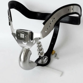 Male Chastity Belt Slave BDSM Bondage Fetish Lockable Penis Restraint Device Stainless Steel Chastity Cage With Anal Plug