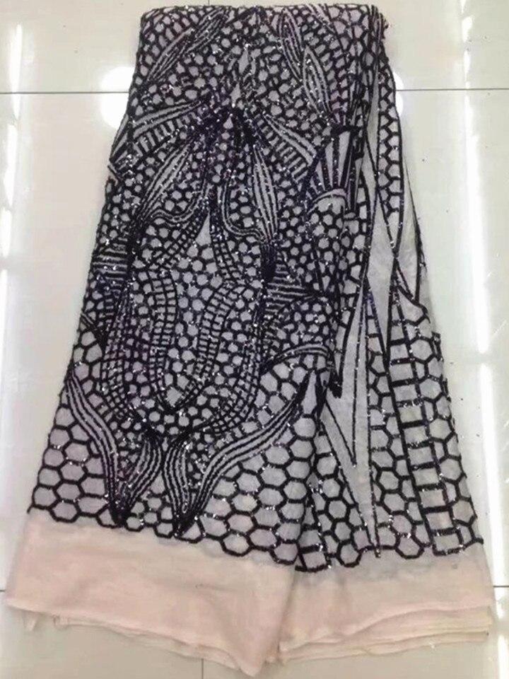 Nouvelle mode africaine maille dentelle robe de soirée avec paillettes modèle français net dentelle tissu pour vêtements QN44, 5 yards/pc - 3